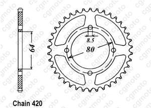 Kit chaine Yamaha Rt 100