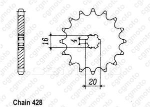 Kit chaine Yamaha Rd 125 Dx Rayons