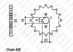 Kit chaine Yamaha Rd 125 Lc2